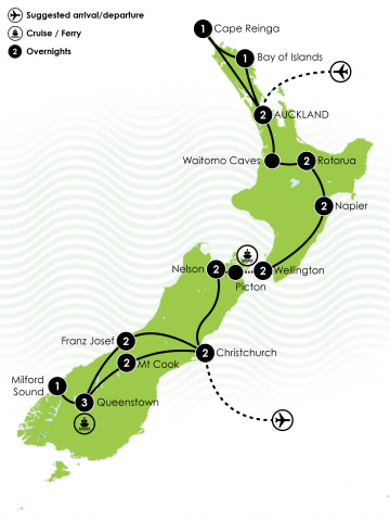 23 Day New Zealand Discovery Tour Large Map