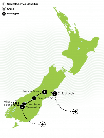 Ultimate South Island Self Driver Golf Tour Large Map