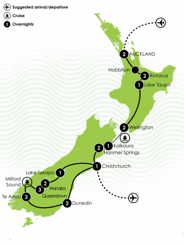 Ultimate New Zealand Family Journey Large Map