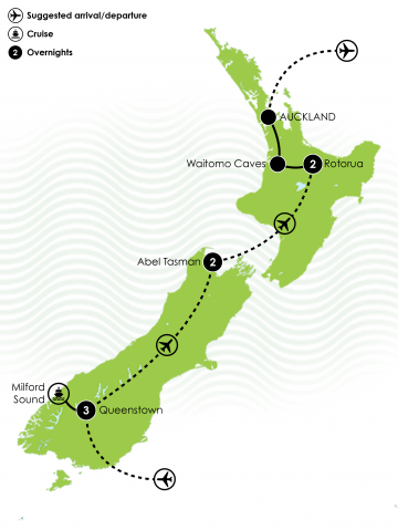 Highlights of NZ short Stay Tour Large Map