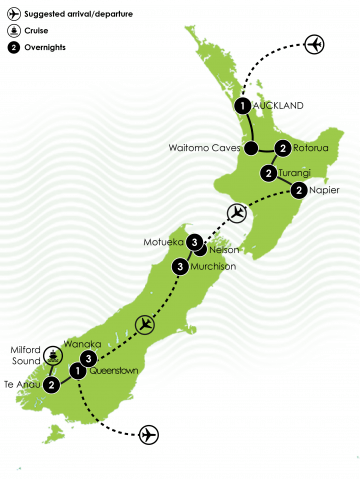 New Zealand Fly Fishing Tour Large Map