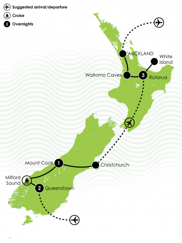 New Zealand's 7 Natural Wonders in 7 Days Large Map