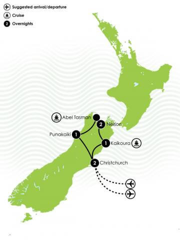 7 Day Top of the South Island Itinerary Large Map