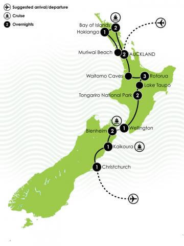 16 Days New Zealand Motorhome Tourer Large Map