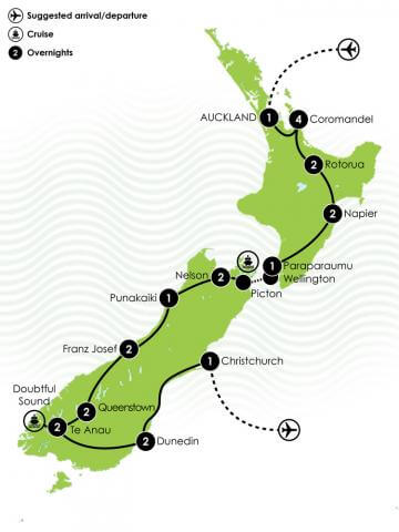 23 Day New Zealand Motorhome Itinerary Large Map
