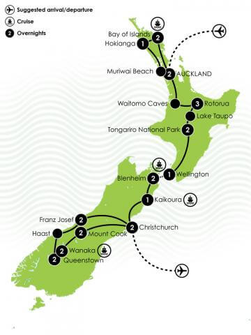 25 Day New Zealand Motorhome Tour Big Map