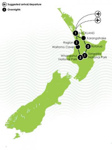 8 Day North Island Multisport Large Map