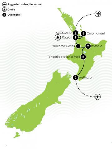 10 Day Northern Trail Haka Plus Tour Large Map