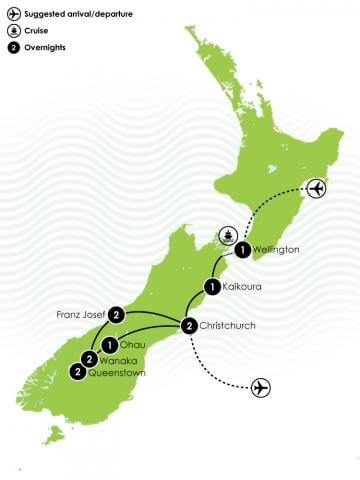 12 Day Southern Explorer Haka Plus Tour Large Map