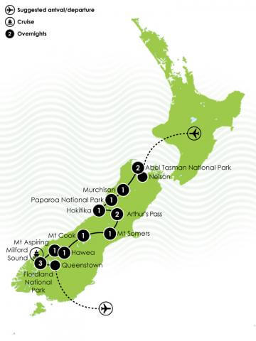 Ultimate South Island adventure Large Map
