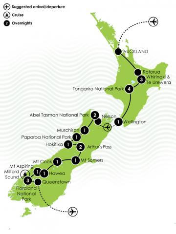 Ultimate New Zealand Adventure Tour Large Map