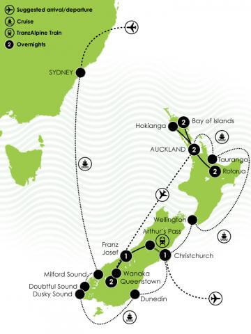 Grand Pacific Tours - New Zealand Vista by Cruise and Coach Large Map