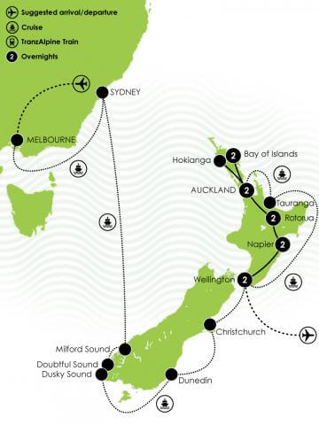 Grand Pacific Tours - Ultimate Cruise & North Island Experience Large Map