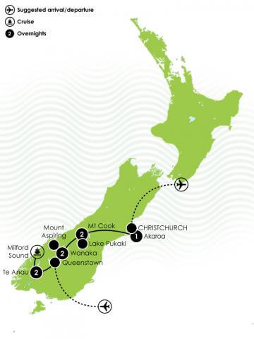NZ Trails - Pure South Hiking Tour Large Map