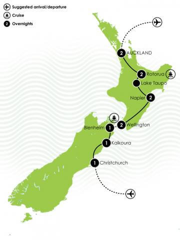 New Zealand Voyage - A Luxury Self Drive Large Map
