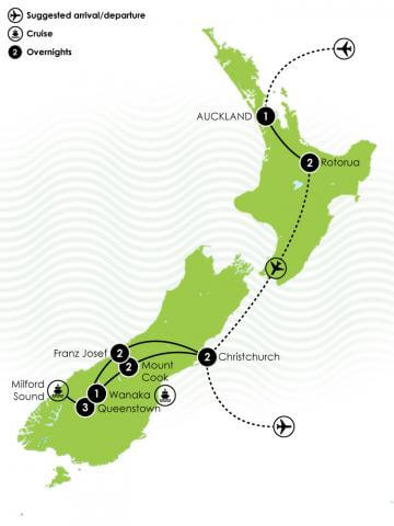 The Classic 14 Day North and South Island Itinerary Large Map