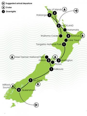 18 Day Best of NZ Private Luxury Tour Large Map