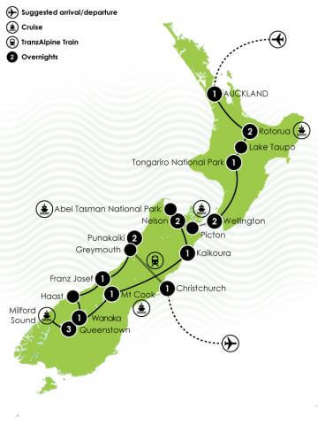 Best of Both Islands - A Privately Guided Tour of New Zealand Big Map