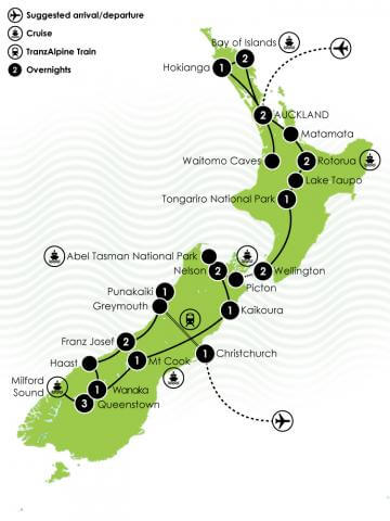 3 Week New Zealand Wide Private Tour Large Map