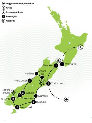 Grand Pacific Tours - 15 Day Classic Warbirds Over Wanaka Large Map