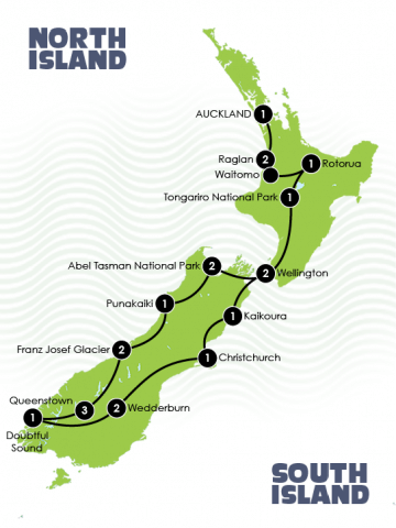 21 Day New Zealand Adventure Tour Map