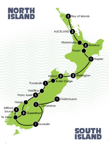 New Zealand 21 day group tour map
