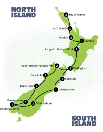 Map of New Zealand small group tour adventure itinerary.