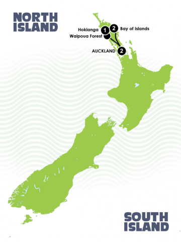 6 Day Kotare Northland Tour Itinerary Map