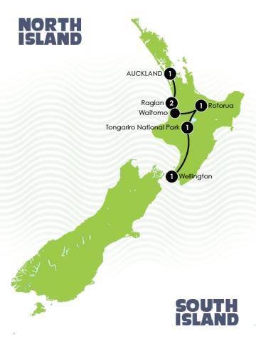 7 Day New Zealand Best of North Island Adventure Tour Map