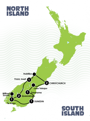 9 Days Southern Wonders Christchurch to Christchurch Itinerary Map