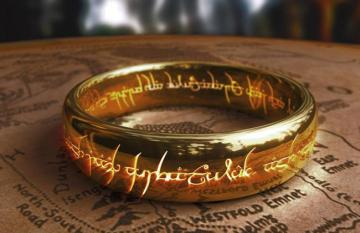 A photo of the actual 'One Ring' from the LOTRs Trilogy Films.