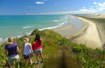 Hiking the sandy beachs of Northland