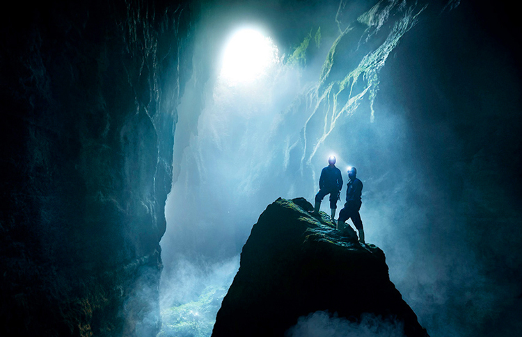 Deep underground in the Lost World cave system in Waitomo.